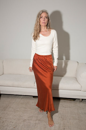 Aylin silk satin skirt