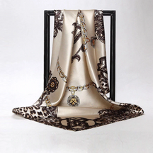 Women Soft Pink Leopard Silk Satin Square Scarves  49.00€