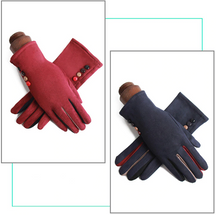 Single Layer Warm Cashmere Full Finger Button Touch Screen Gloves  39.00€