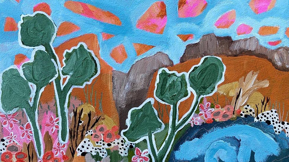 'Gumtrees + Mountains + Flowers' Original Mini Artwork