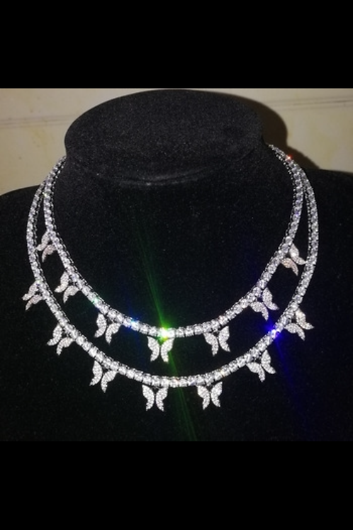 Cubic zirconia (butterfly tennis chain )