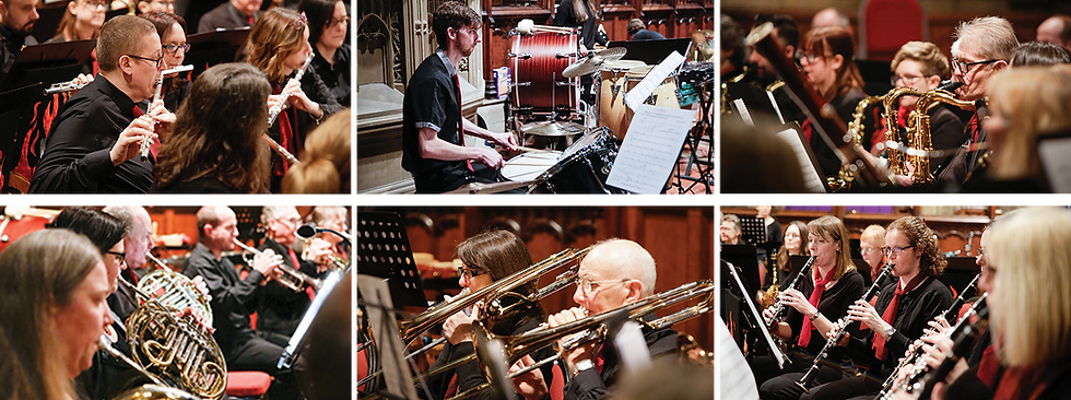 A montage of photographs of Phoenix Concert Band in performance, including brass, woodwind and percussion musicians
