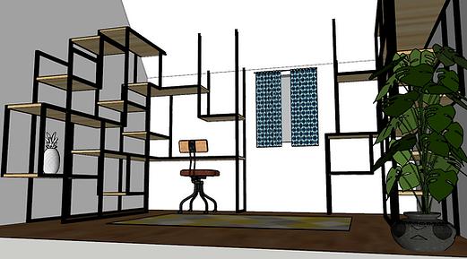 Modélisation 3D d'une bibliothèque contemporaine acier noir et bois