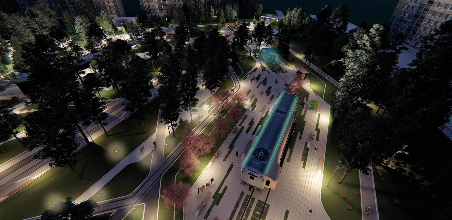 Вид на площадку с вагоном-музеем