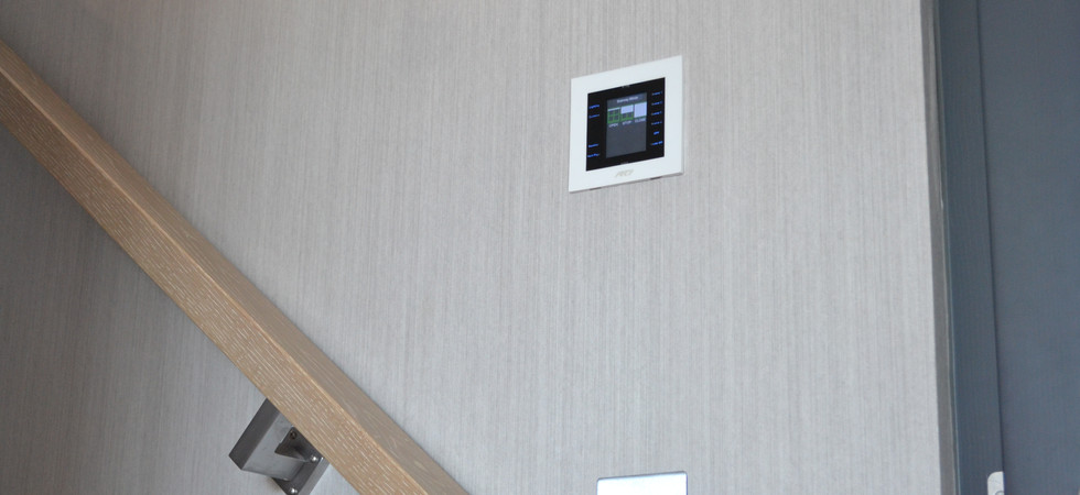 AV touch panel on the stairs.