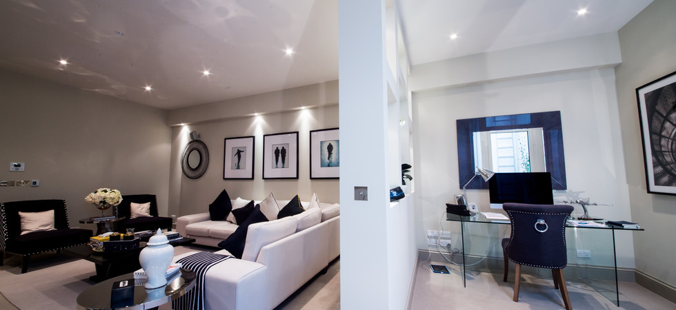 Lutron Lighting in study and Living room