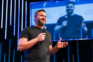 Businessman delivers corporate keynote in Live stream
