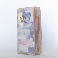 "Javi Mendozago ""the immeasurable weight of a memory""  Polaroid emulsion lift transfers / watercolor / brick"