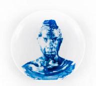 """Mert Çağıl Türkay """"Snack"""" Cyanotype on porcelain plates"""