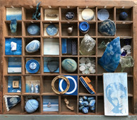 Libby Mornement 'Flotsam & Jetsam' Print tray combining Cyanotype and Cyanotyped salvage from the tidal mark