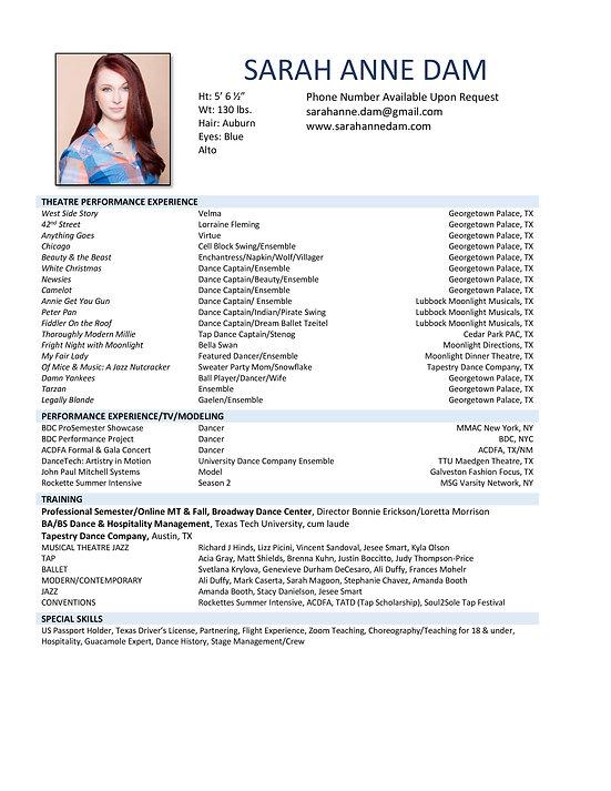 Sarah Anne Dam - Dance Performance Resum
