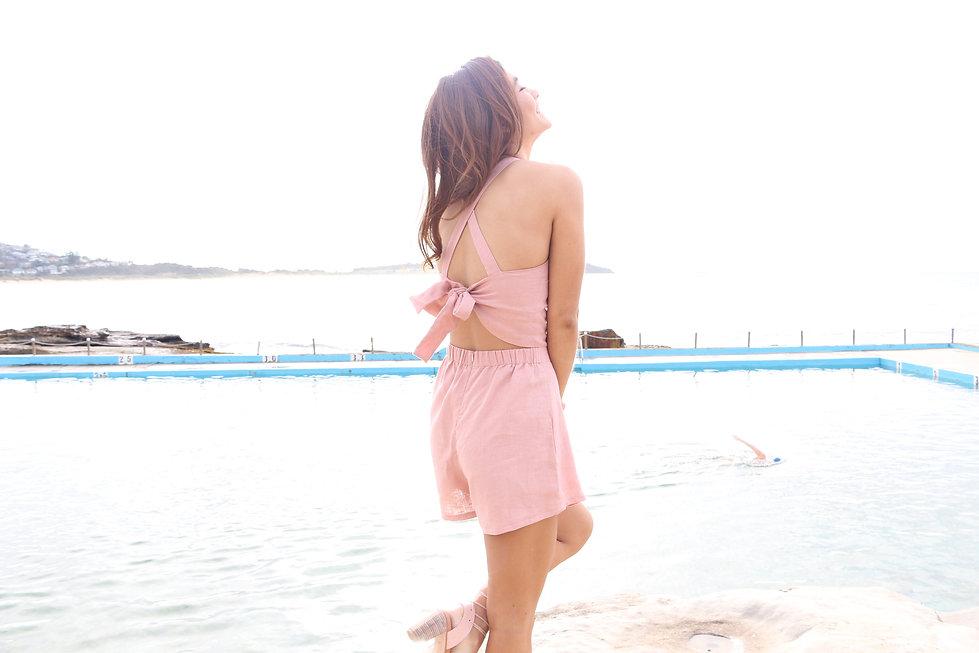 Sarah Jane Knapp Dusky Pink Playsuit