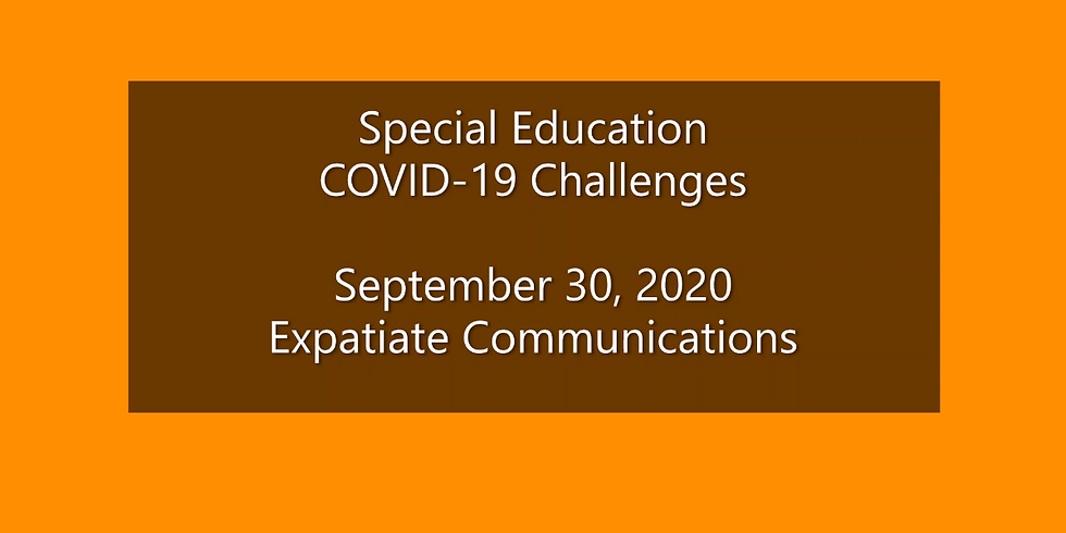 Critical Issues Webinar: Special Education & COVID-19
