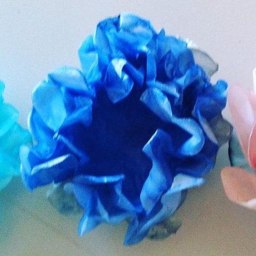 Flor Frisada Azul Royal - Cx 100 unid.