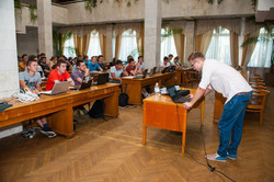 Giving a lecture at Kyiv Polytechnic University