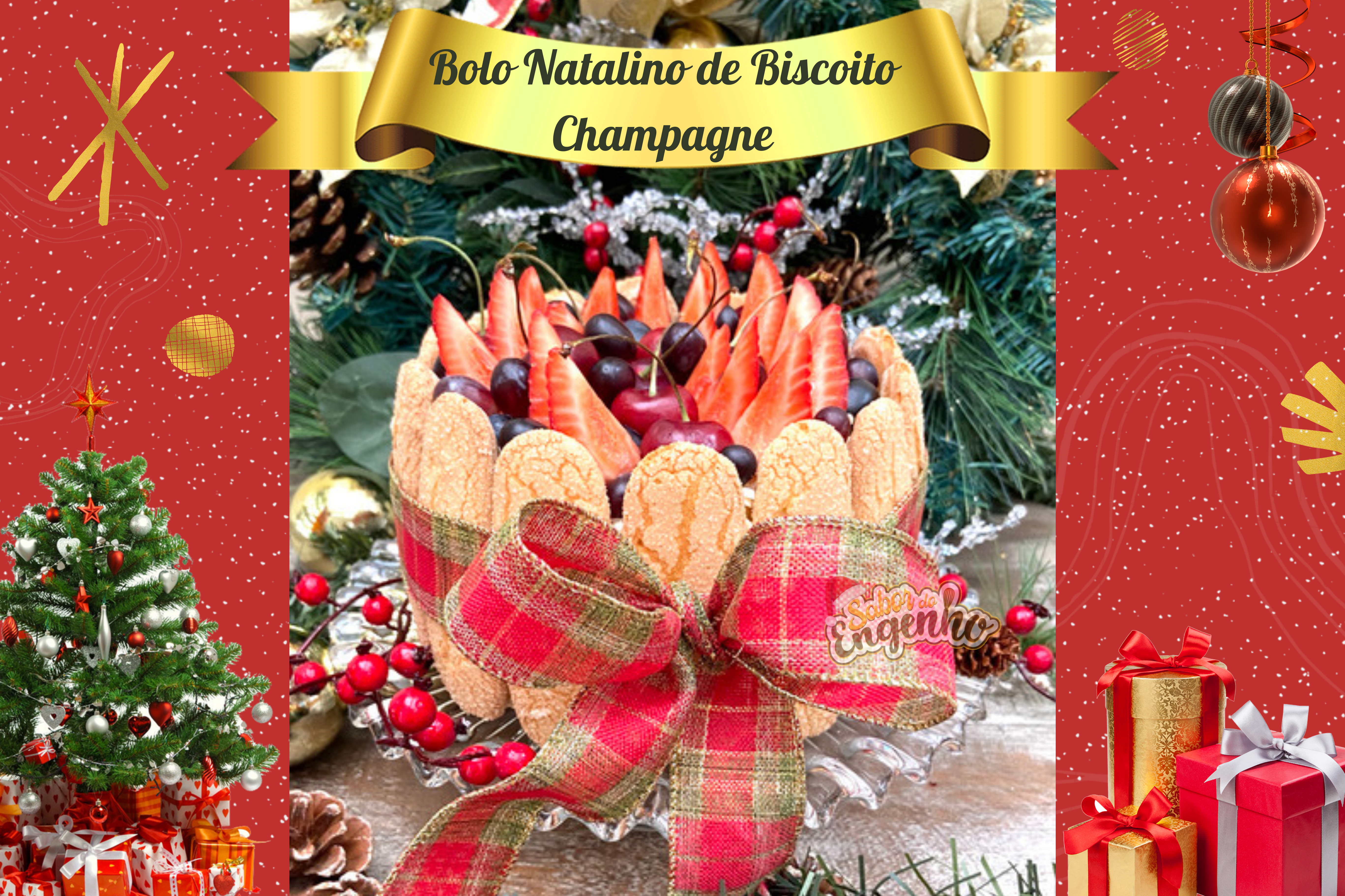 Bolo Natalino de Biscoito Champagne