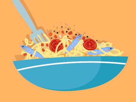 Pasta, sardinas y familia