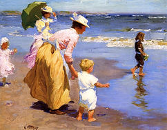 38221-Pothast at the beach mother and ch