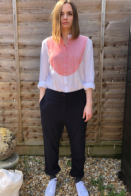 COLLARLESS SHIRT WITH RED STRIPED BIB-FRONT