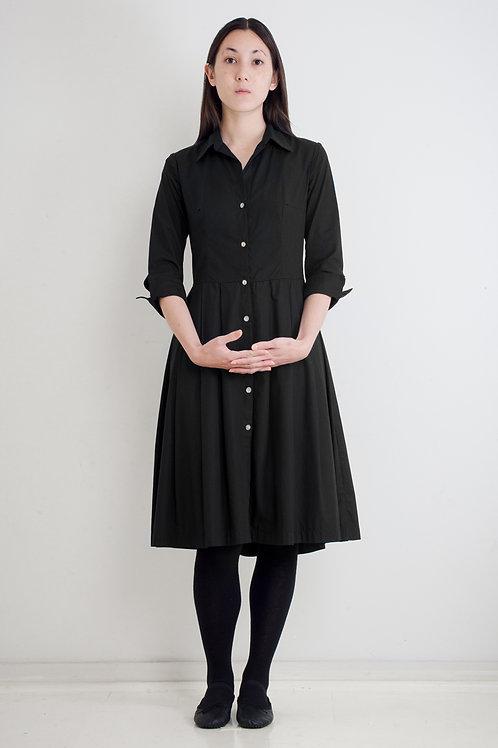 SHIRTWAISTER DRESS - BLACK