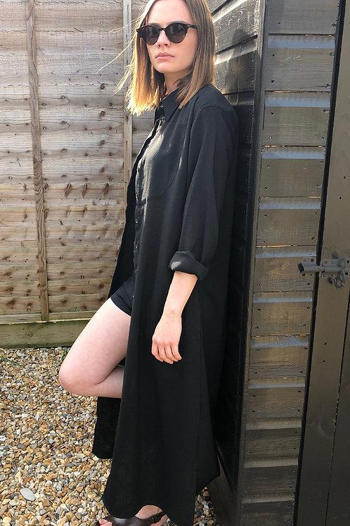 LIGHT-WEIGHT WOOL BIB FRONT COAT DRESS - BLACK