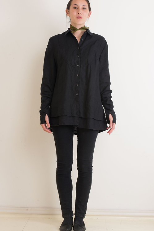 DOUBLE LAYER LINEN, BIB FRONT SHIRT - BLACK