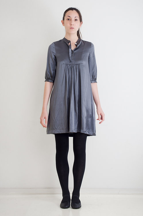 WASHED SILK DRESS WITH RAW EDGE COLLAR RIBBON