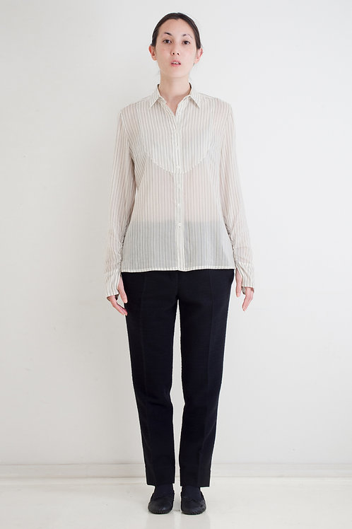 COTTON-SILK STRIPE BIB-FRONT SHIRT WITH THUMB-HOLE OR REGULAR CUFF