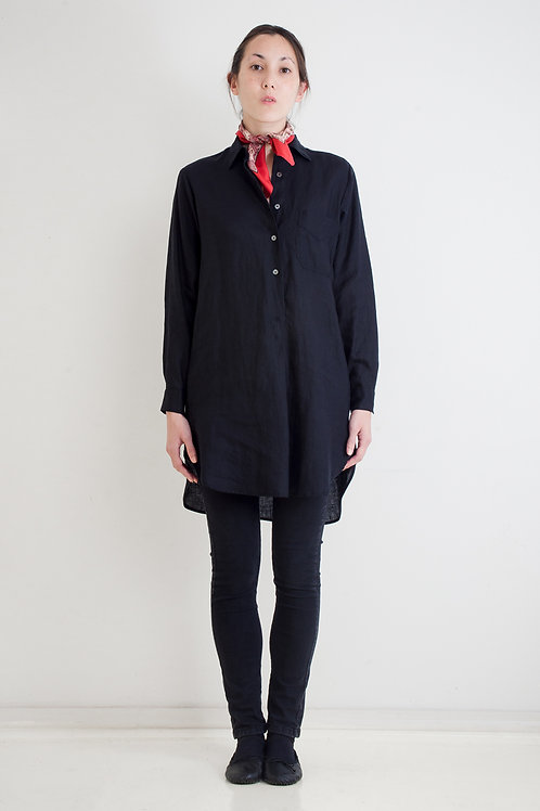 PURE LINEN, SLIM ONE POCKET TUNIC - BLACK/NAVY