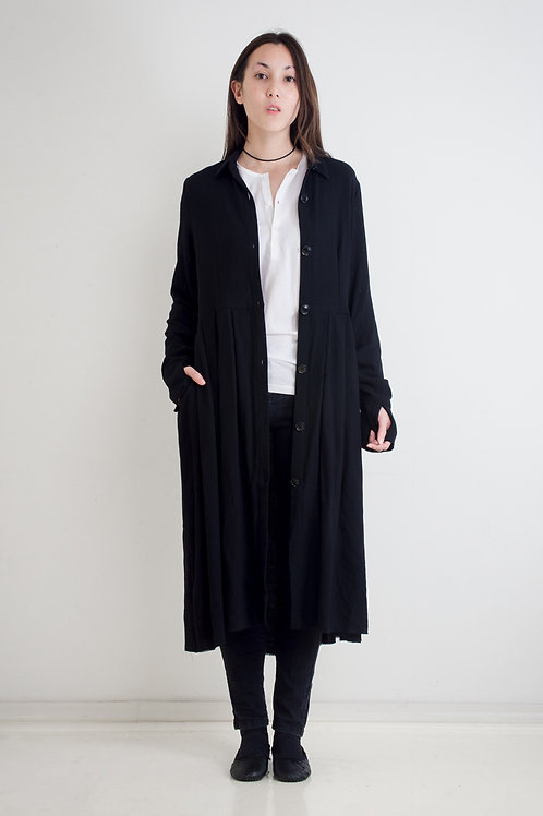 RAW EDGE COAT DRESS,  LINEN - NAVY OR BLACK, WOOL CREPE - BLACK