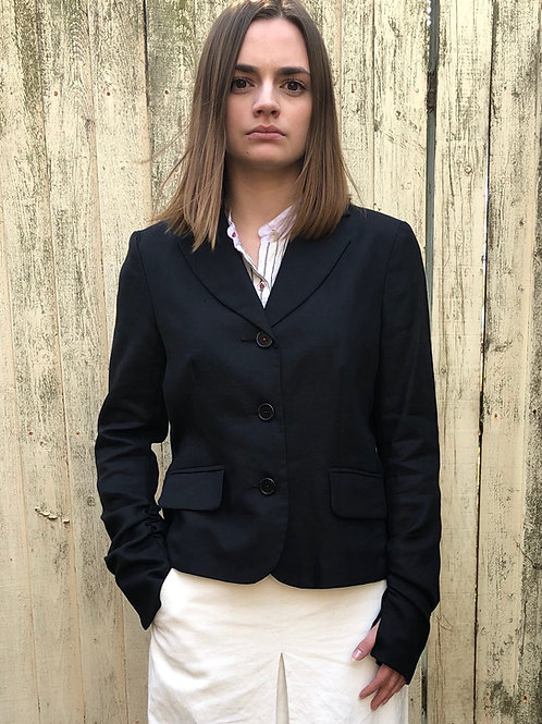3 BUTTON LINEN JACKET WITH THUMBHOLE DETAIL