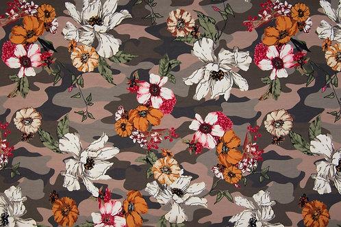 """Jersey """"Blumen auf Camuflage"""" 17,90/m Abnahmemenge 0,5m"""