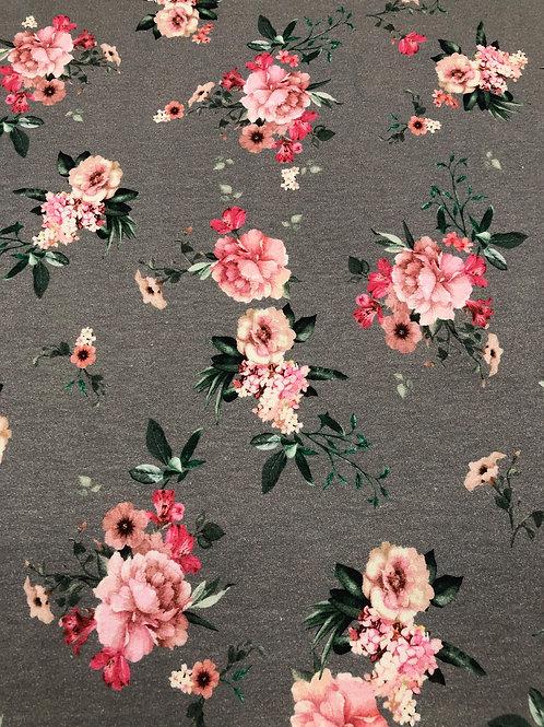 "Sweat  "" brushed ""  Blumen  € 21,90/m Abnahmeeinheit 0,5m"