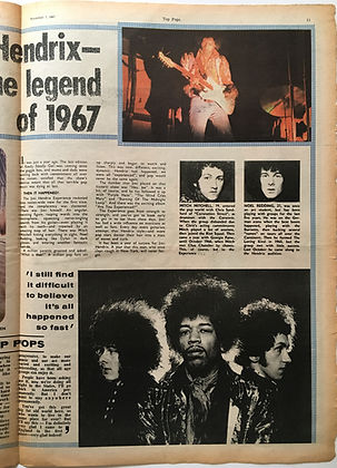 jimi hendrix collector newspaper/top pops november 7 1967 feelin'good / jimi hendrix