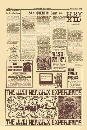 jimi hendrix newspaper/ washington free press 20/2/68