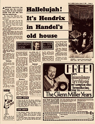 jimi hendrix newspaper 1969/ daily mirror january 11 1969