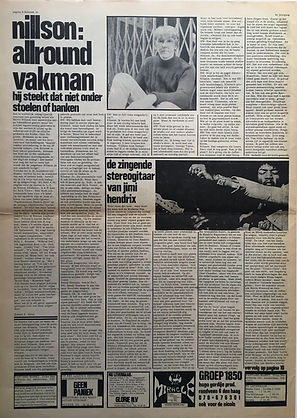 jimi hendrix newspapr 1968/ hit week 22/11/68 electric ladyland