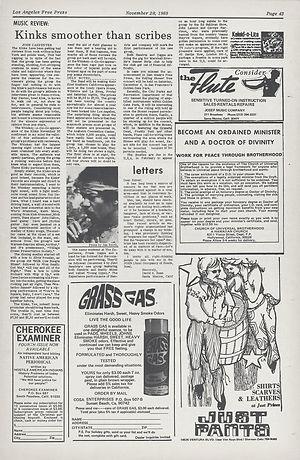 jimi hendrix newspapers 1969/los angeles free press nov 28-Dec 5,  1969