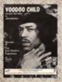 jimi hendrix collector memorabilia/sheet music voodoo chile november 1970