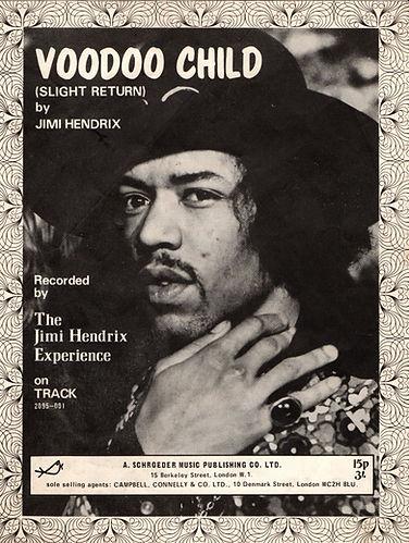 jimi hendrix collector memorabilia/sheet music voodoo chile november 1970