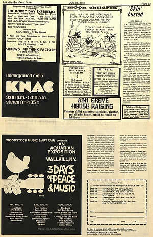 jimi hendrix newspaper 1969/free press los angeles july 25 1969 AD ticket woodstock 69
