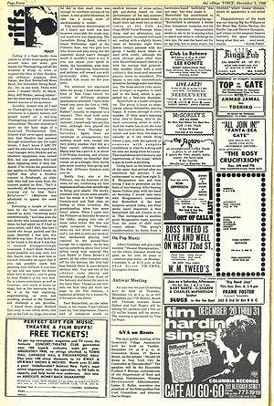 jimi hendrix newspaper 1968/the village voice december 5 1968