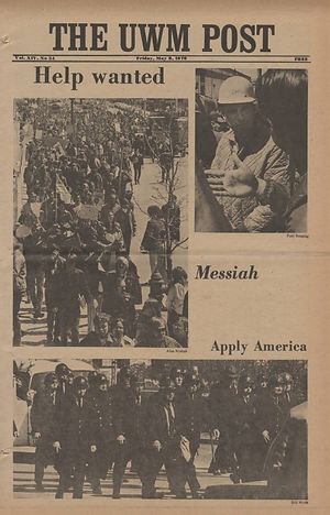 jimi hendrix newspaper 1970 /the uwm post / may 8, 1970