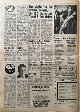 jimi hendrix colector newspapers/record mirror 14/10/1967/hendrix and brown triumph at the saville theatre/new singles from jimi.....