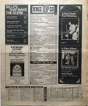 jimi hendrix newspaper 1968/ new musical express december 14 1968/ top 30