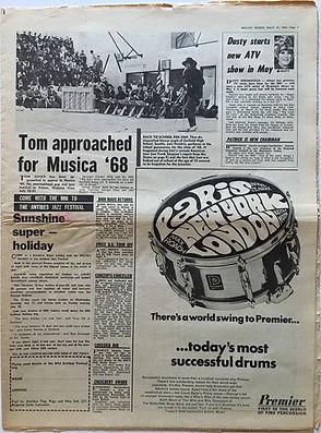 jimi hendrix newspaper/melody maker 16/3/68 back to school for jimi