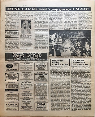 jimi hendrix newspaper/disc music echo september 28/1968/ hollywood bowl