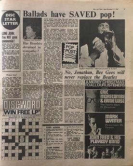 jimi hendrix newspaper/disc music echo 9/12/1967