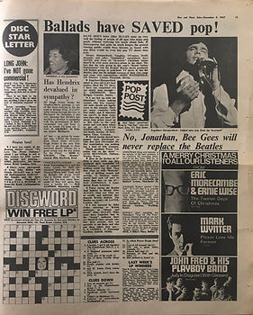 jimi hendrix newspaper/disc music echo 9/12/1967