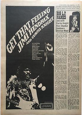 jimi hendrix newspaper/record mirror 3/2/68 ad/get that feeling